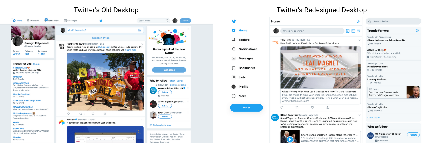 Twitters old and new desktop