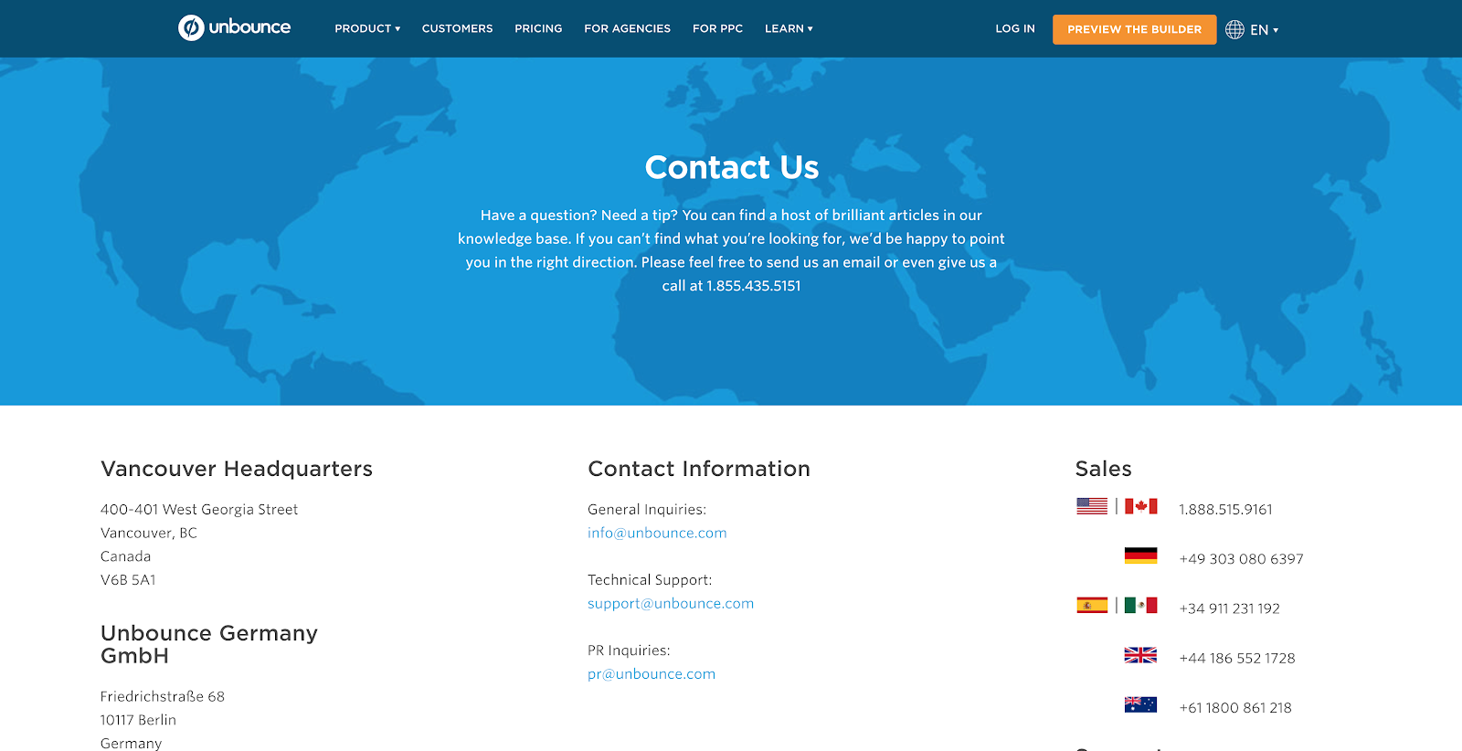 Unbounce Contact Us