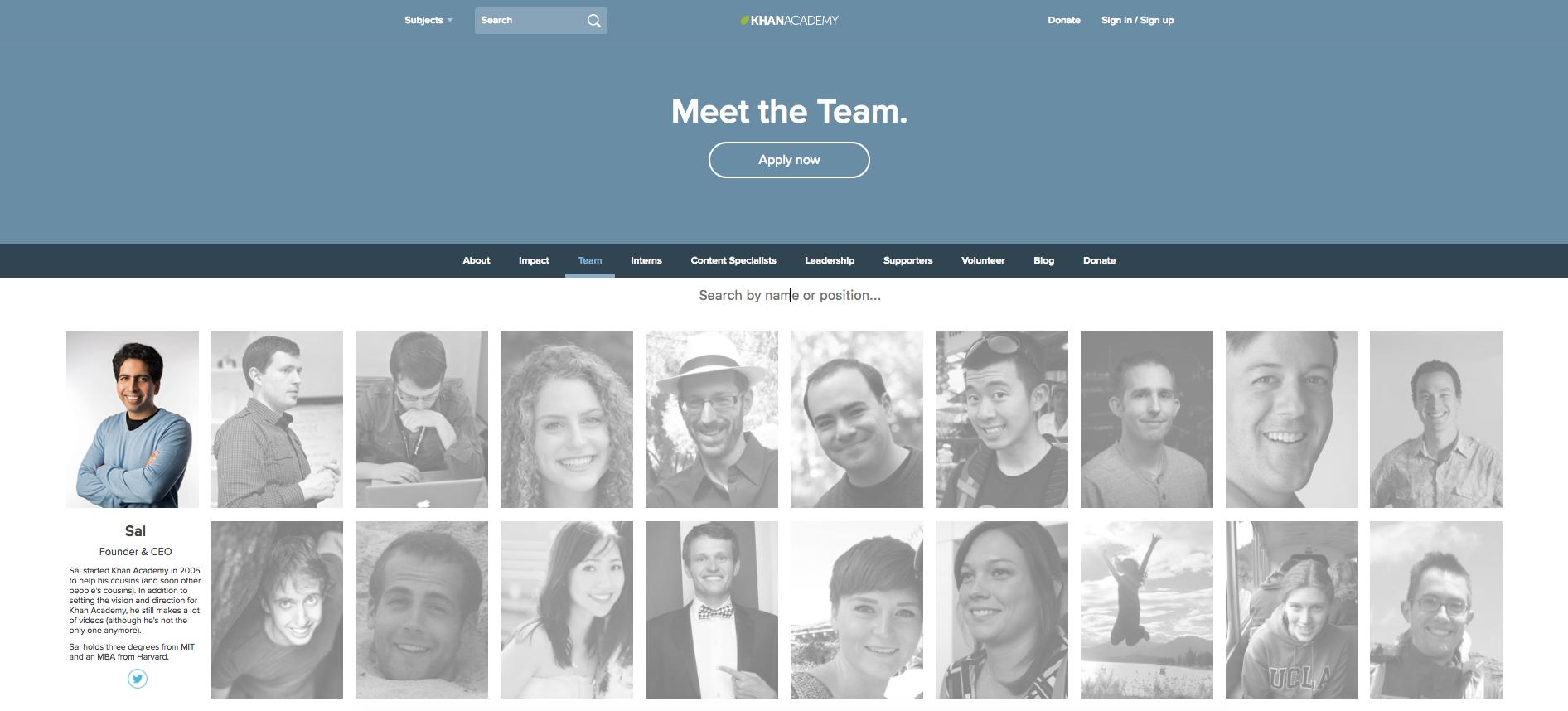 best team page khan academy