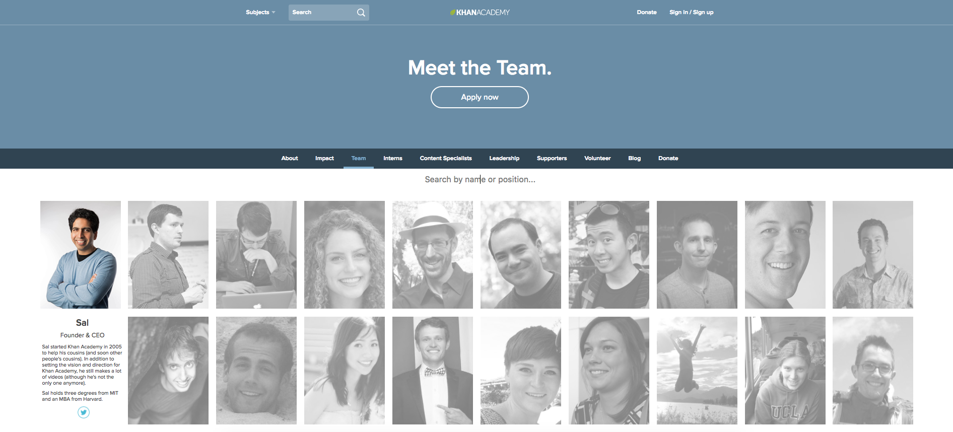 best team page khan academy
