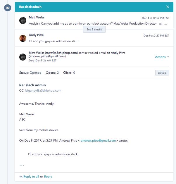 HubSpot Email Threading