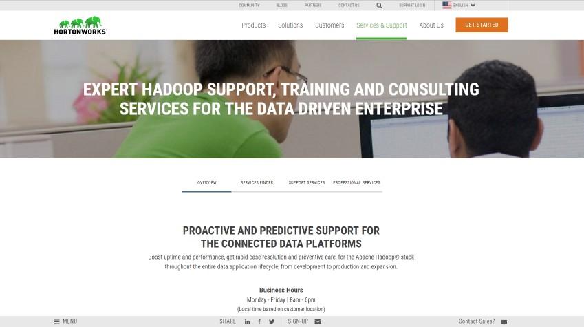 Hortonworks Service Page