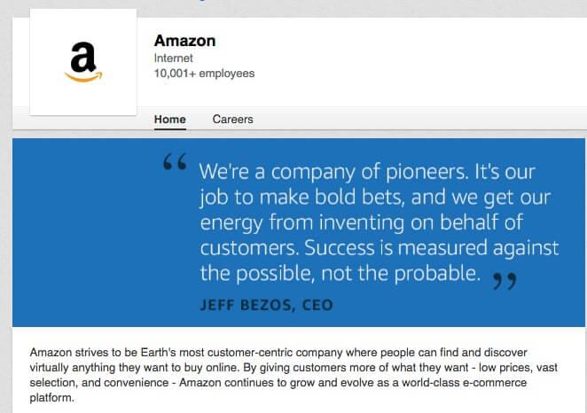 Linkedin Company Page  Amazon
