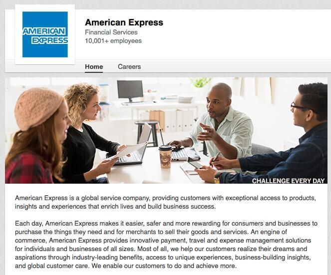 Linkedin Company Page American Express