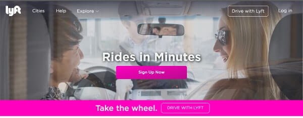 Call-to-Action Examples Lyft