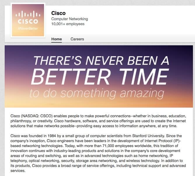 LinkedIn Company Pages Cisco
