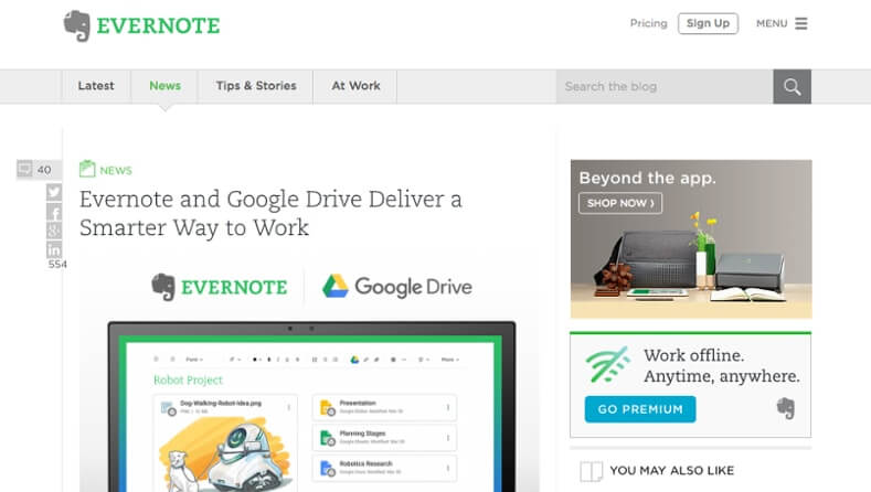 Examples of Business Blog Evernote