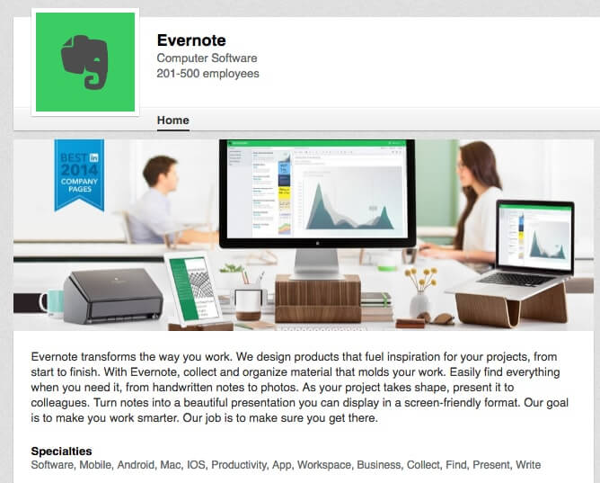 LinkedIn Company Pages Evernote
