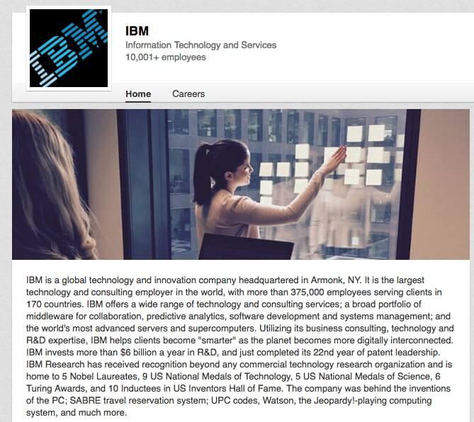 LinkedIn Company Pages IBM