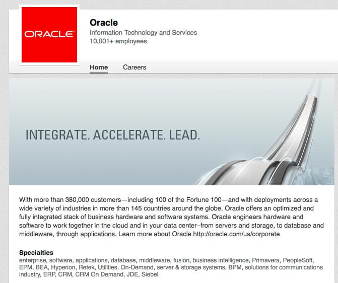 LinkedIn Company Pages Oracle