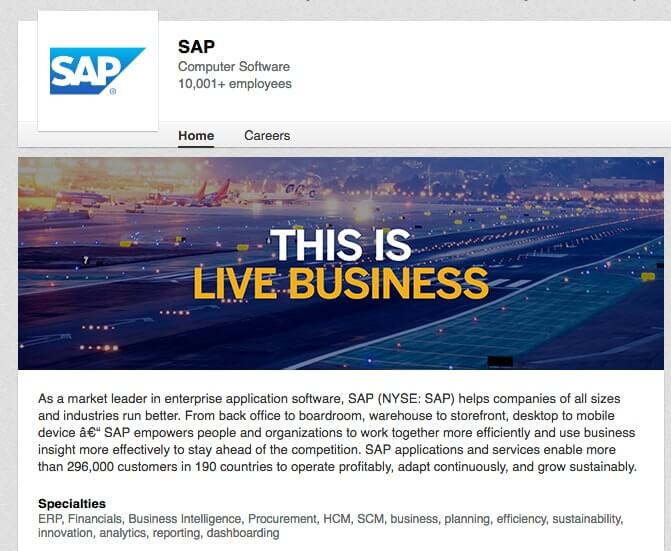 LinkedIn Company Pages SAP