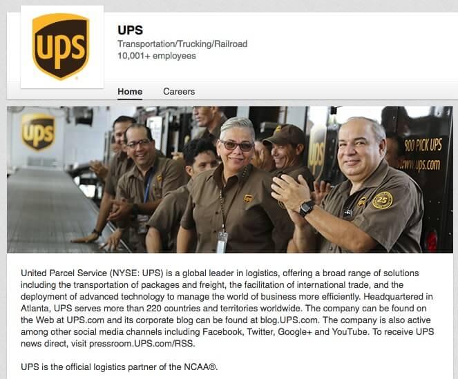 LinkedIn Company Pages UPS