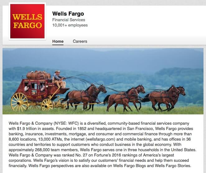 Linkedin Company Page Wells-Fargo