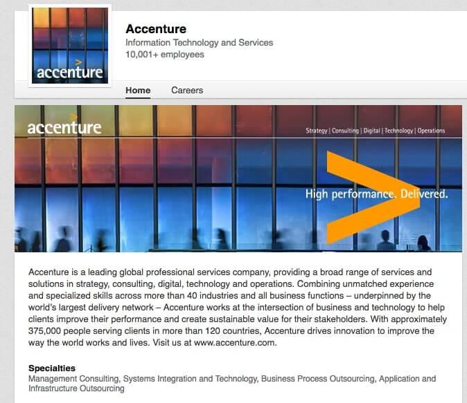 LinkedIn Company Pages Accenture