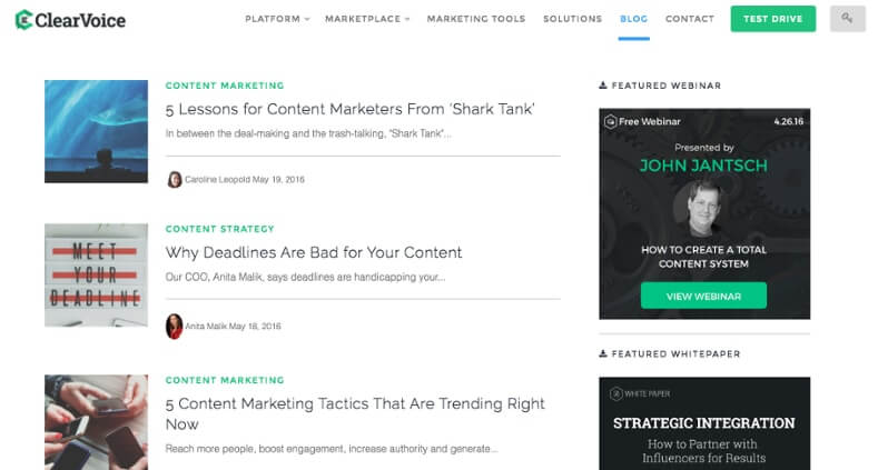 Examples of Business Blog ClearVoice
