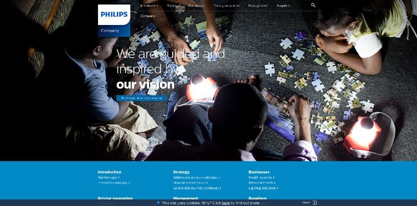 Nội dung profile công ty tập trung vào hình ảnh của Philips