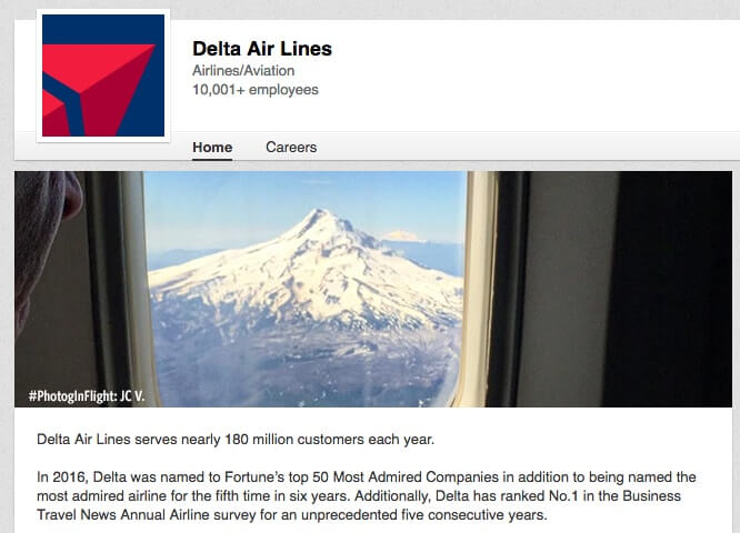 LinkedIn Company Pages Delta Air Lines