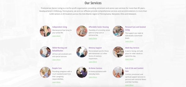 homepage elements services section