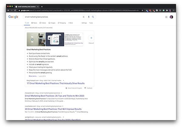 Google search for email marketing best practices