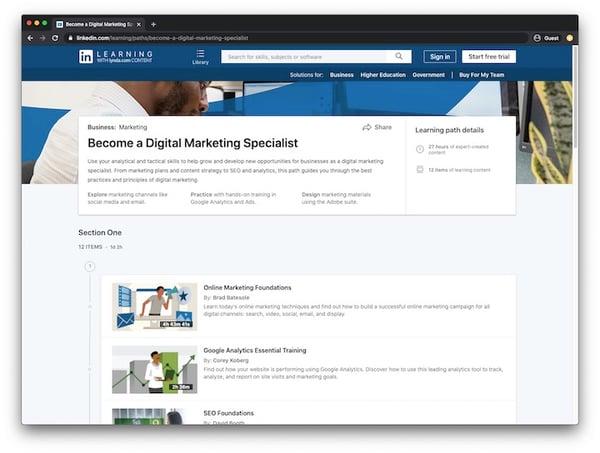 LinkedIn Learning Digital Marketing Specialist Track
