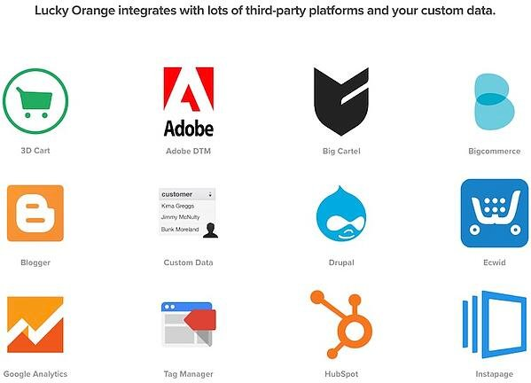 Screenshot of some of the LuckyOrange integrations
