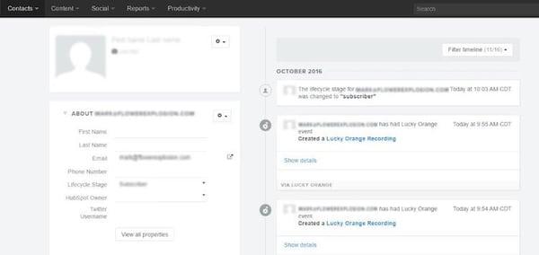 Screenshot of an example LuckyOrange and HubSpot integration