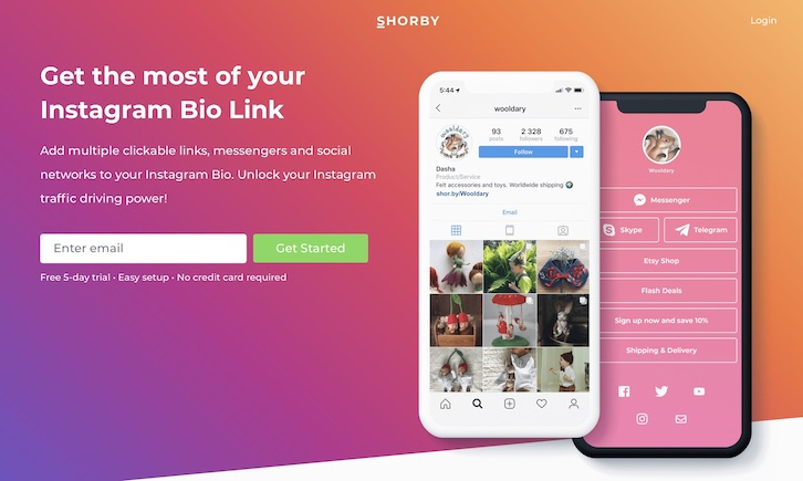 Shorby - instagram bio link
