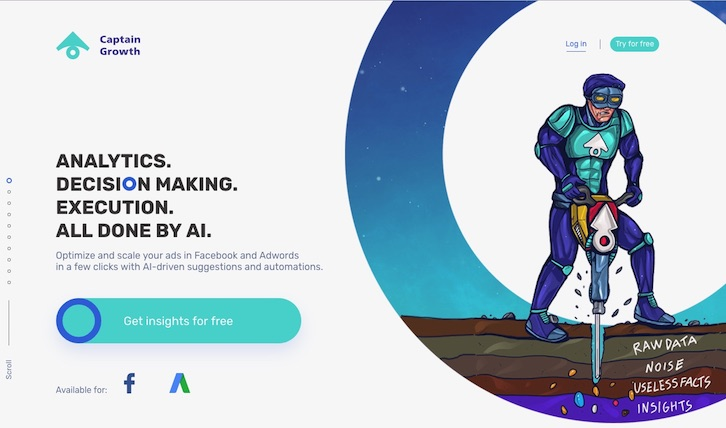 Captain Growth - Facebook and Google Ads optimization powered by A.I.