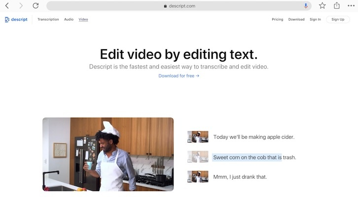 Descript- modify video by modifying text