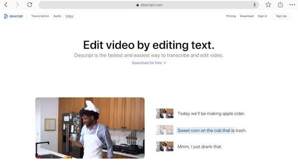 Descript - edit video by editing text