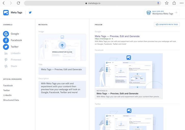 MetaTags.io - generate and debug your meta tags