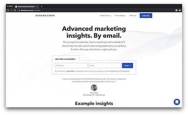 Advanced marketing insights email from Demand Curve