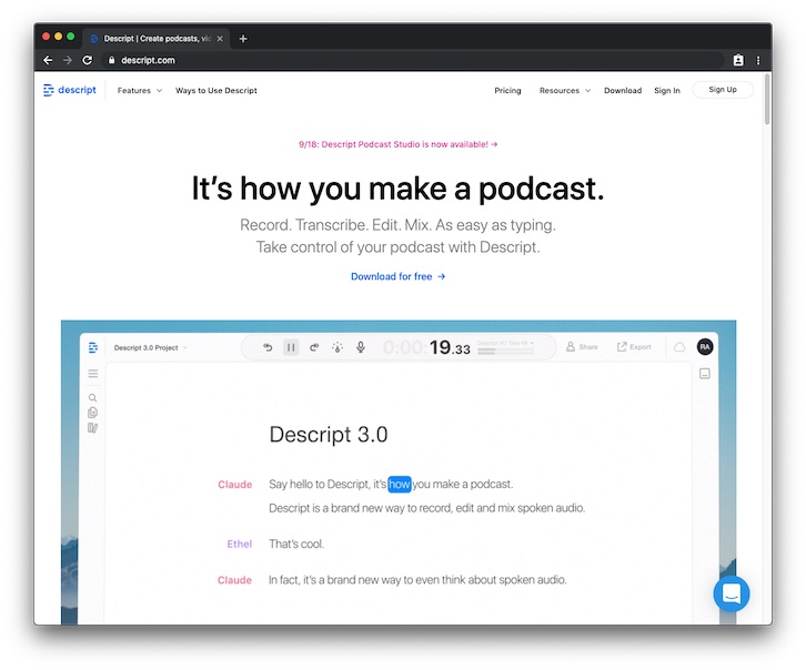 Descript - edit your podcast like editing a text document