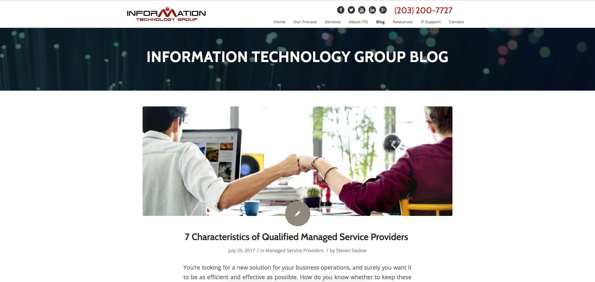 Examples of Business Blog Information Technology Group