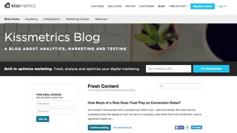 Examples of Business Blog Kissmetrics