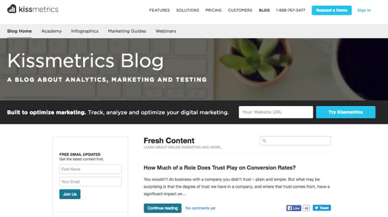 Examples of Business Blog Kissmetrics