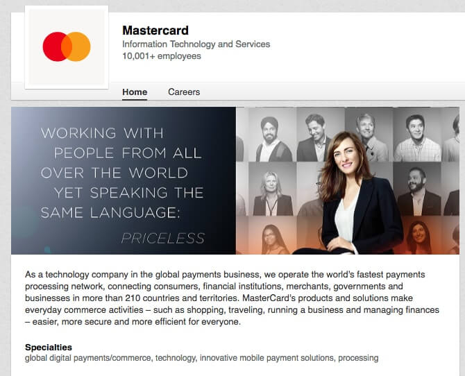 LinkedIn Company Pages Mastercard