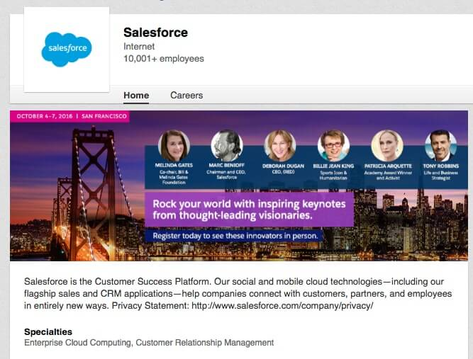 LinkedIn Company Pages Salesforce
