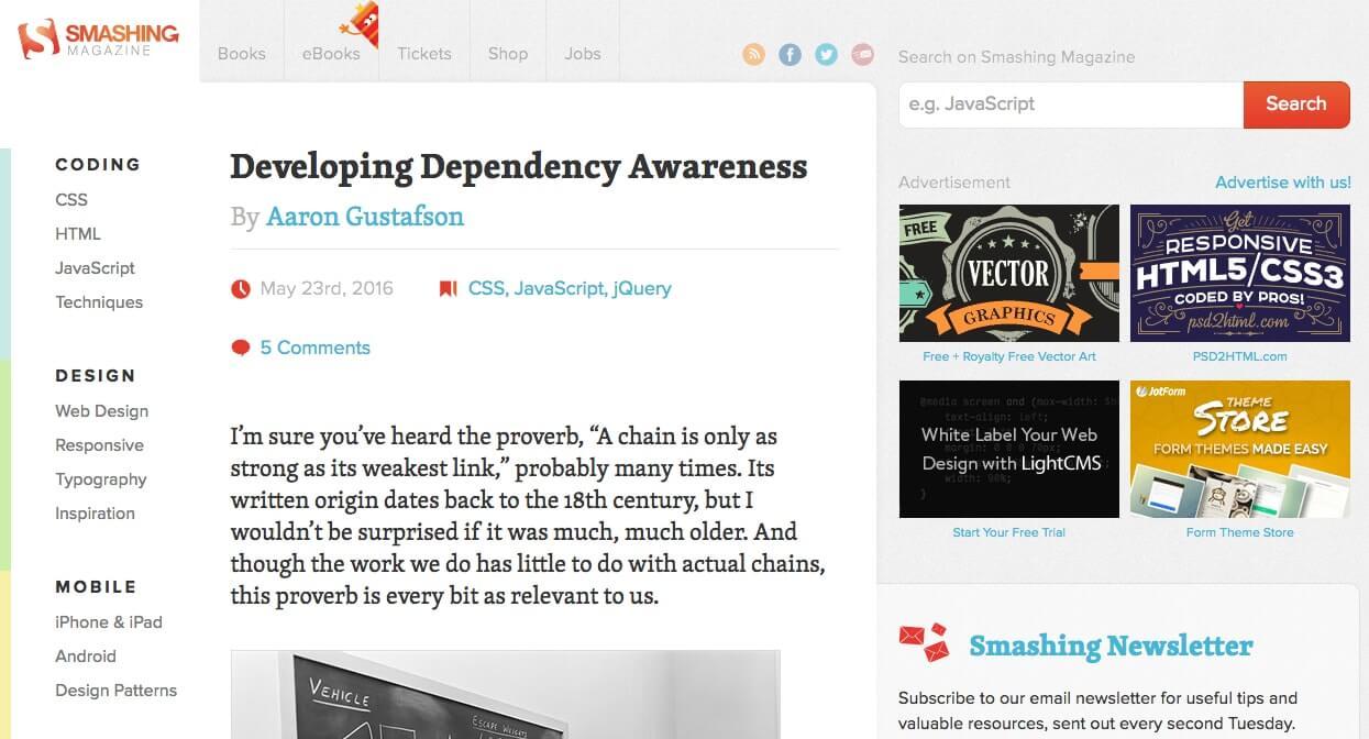 Examples of Business Blog Smashing Magazine