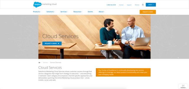 Salesforce Marketing Cloud Services Page