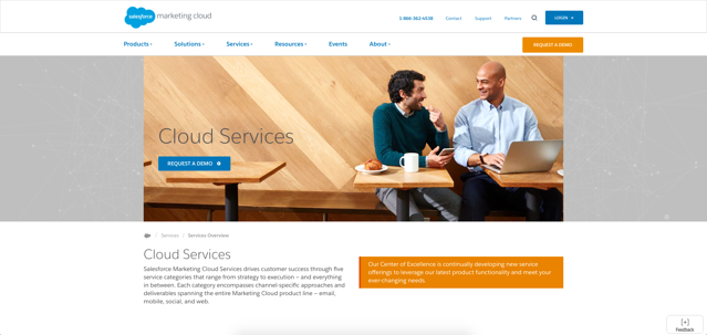Salesforce Marketing Cloud Services Page