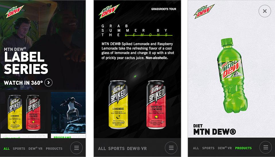 Mobile Web Design Mountain Dew