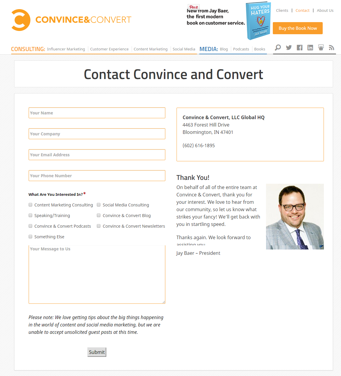 Convince and Convert contact us page
