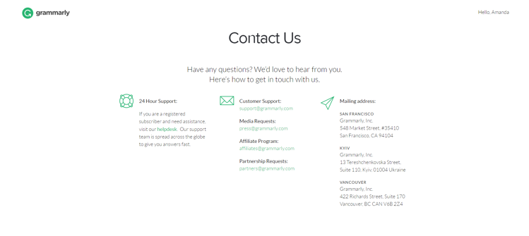 Grammarly contact us page