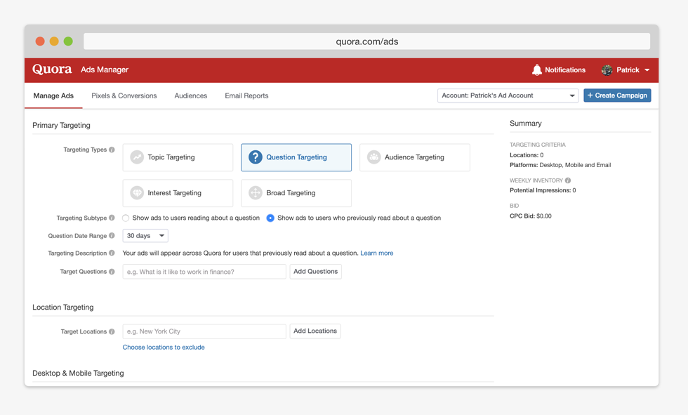 Quora Now Allows Retargeting Ads Based on Questions a User Has Viewed