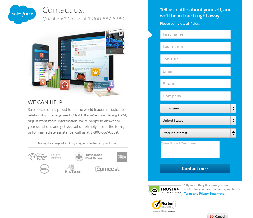 Salesforce contact us page