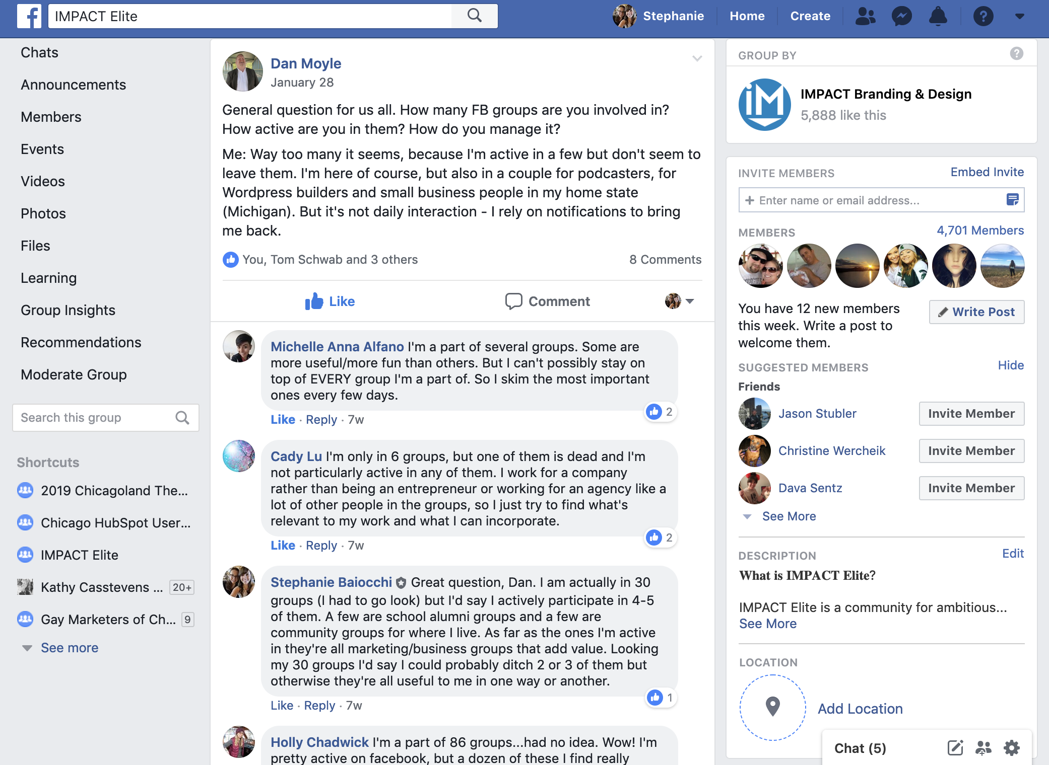 15 number of facebook groups