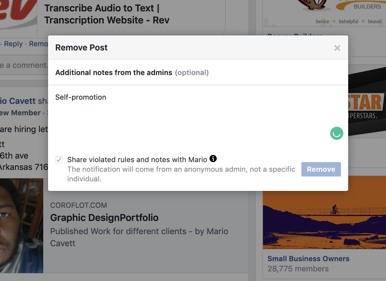 34 notes for reporting post in facebook