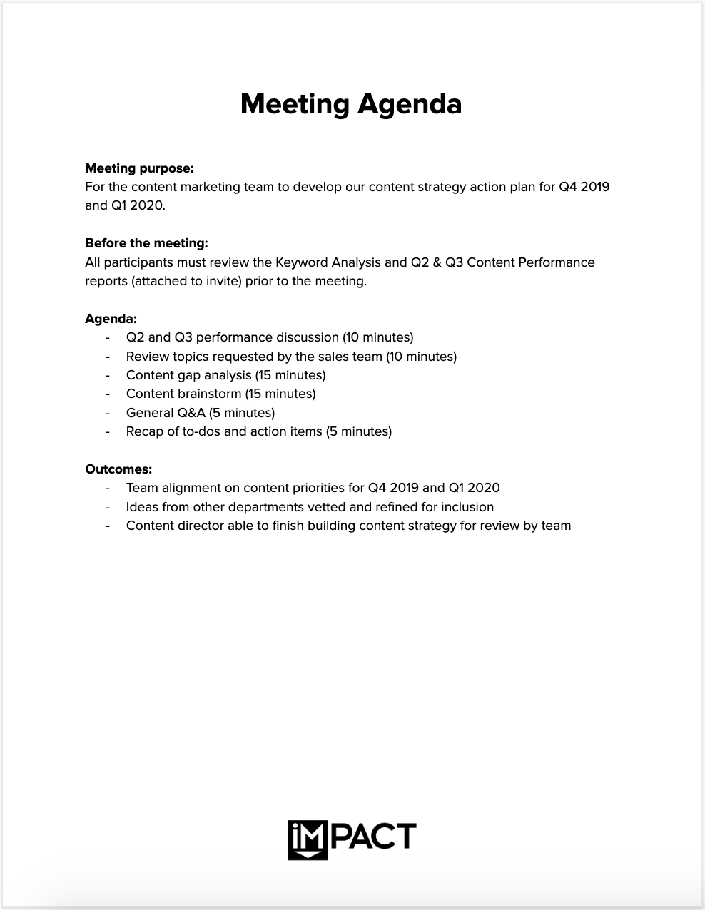 The Only Meeting Agenda Template You Ll Ever Need Meeting